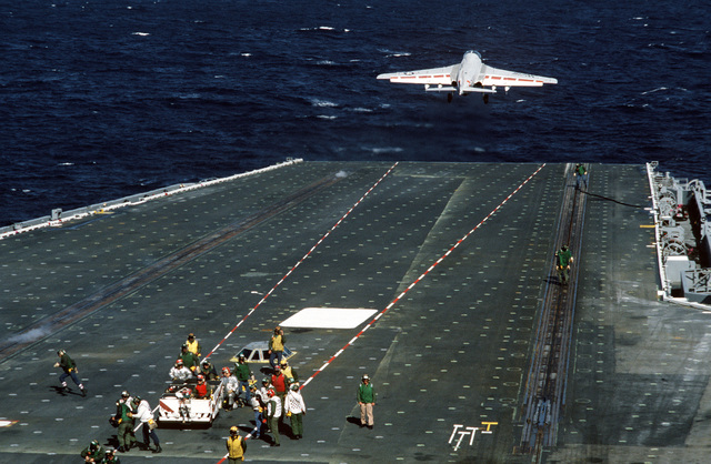 An A-6E Intruder aircraft is launched during flight operations aboard the nuclear-powered aircraft carrier USS CARL VINSON (CVN 70)