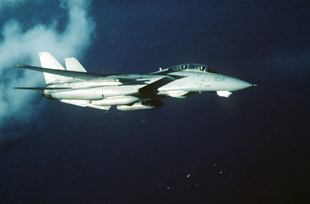 An air-to-air right side view of an F-14 Tomcat aircraft from Fighter Squadron 51 (VF 51). The F-14 is assigned aboard the nuclear-powered aircraft carrier USS CARL VINSON (CVN 70)