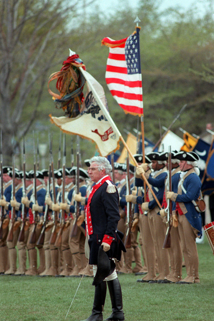 Captain Arne W. Owens, commanding officer, drills the troops of the 3rd United States Infantry (The Old Guard), also known as the Commander-in-CHIEF's Guard. The unit is participating in the Cessation of Hostilities Bicentennial Celebration at the Pentagon River Plaza. The commemoration honors the issuance of a Continental Congress proclamation to the assembled Main Army at Newburgh, N.Y., that announced a cease-fire between Americans and the British forces of King George III