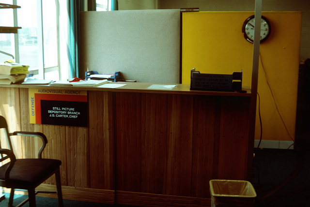 Odd colored dividers greet visitors to the Defense Audiovisual Agency Still PHOTO Depository just before arrival of the new modular furniture, along with many changes that must be made in the consolidation of the audiovisual functions of the four services and moving them together under one roof