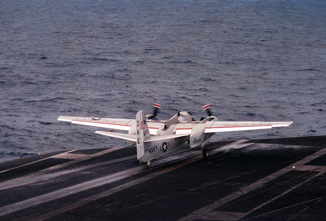 A C-1A Trader aircraft takes off from the nuclear-powered aircraft carrier USS DWIGHT D. EISENHOWER (CVN-69)