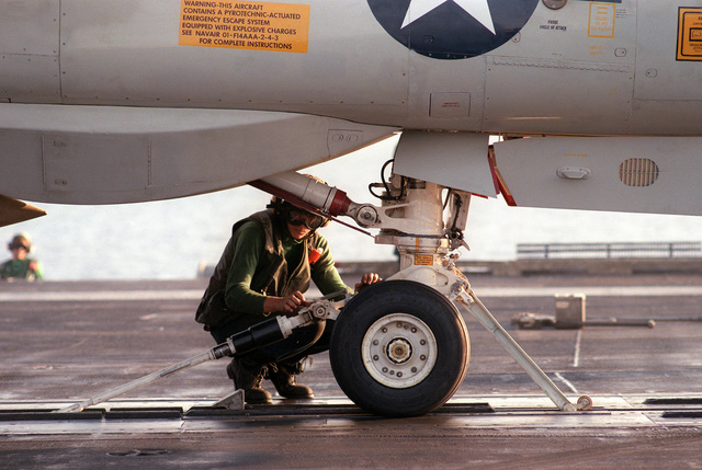 A flight deck crew member checks the shock absorbers attached to an F-14A Tomcat aircraft prior to its launch from the nuclear-powered aircraft carrier USS DWIGHT D. EISENHOWER (CVN-69)