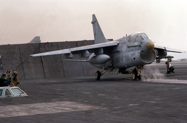 An Attack Squadron 12 (VA-12) A-7E Corsair II aircraft is positioned on the No. 2 catapult prior to its launch from the nuclear-powered aircraft carrier USS DWIGHT D. EISENHOWER (CVN 69)