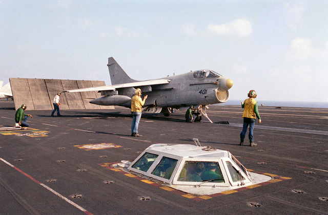An Attack Squadron 12 (VA-12) A-7E Corsair II aircraft is ready for launch from the No. 2 catapult on the flight deck of the nuclear-powered aircraft carrier USS DWIGHT D. EISENHOWER (CVN 69)