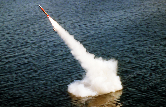 A Tomahawk cruise missile is launched from the nuclear-powered attack submarine USS LA JOLLA (SSN-701) on the Pacific Missile Test Center (PMTC) range