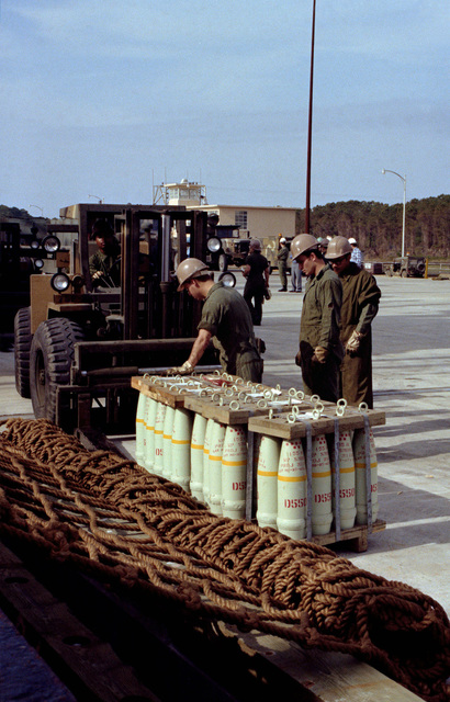 A forklift is used to transfer a pallet of ammunition from the pier to a flatbed truck during LIFELINE operations conducted by the 155th, 567th and 870th Transportation Companies