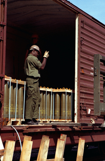 Ammunition is unloaded from a railcar by a forklift during Lifeline operations conducted by the 155th, 567th and 870th Transportation Companies