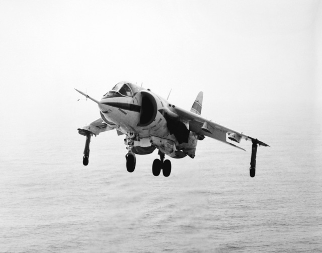 Left front view of an AV-8C Harrier vertical/short takeoff and landing (V/STOL) aircraft. The Harrier, manufactured by McDonnell-Douglas, Inc., is undergoing a test and evaluation program