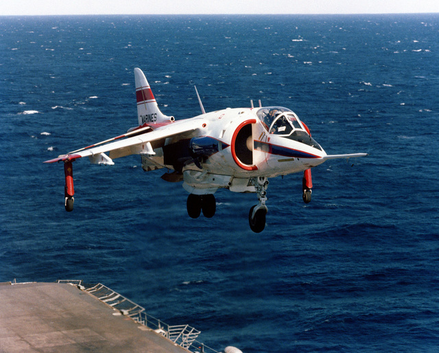 Right front view of an AV-8C Harrier vertical/short takeoff and landing (V/STOL) aircraft in flight. The Harrier, manufactured by McDonnell-Douglas, Inc., is undergoing test and evaluation