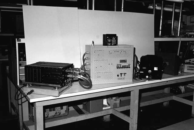 A view of the test set for the AN/ASN-86 inertial navigation set, developed by depot personnel from the Directorate for Maintenance-Airborne Surveillance/Navigation and Instrument Section. Local fabrication of the test set resulted in a savings of more than $400,000