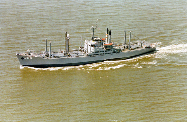 A port beam view of the forward deployment ship USNS VEGA (T-AK 286) underway during acceptance trials