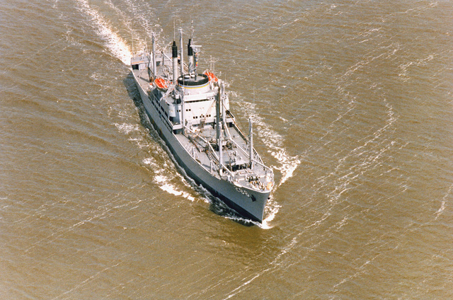 A starboard bow view of the forward deployment ship USNS VEGA (T-AK 286) underway during acceptance trials
