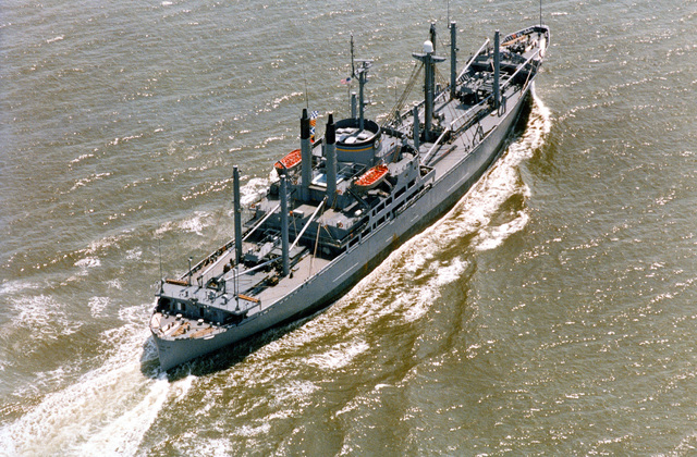 An aerial starboard quarter view of the forward deployment ship USNS VEGA (T-AK 286) underway during acceptance trials
