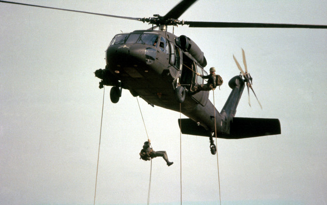 Infantrymen are trained in rappelling from a UH-60 Black Hawk (Blackhawk) helicopter at the Army Air Assault School