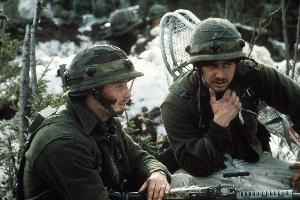 Members of Company C, 4th Battalion, 327th Infantry Regiment wear a MILES (Multiple Integrated Laser Engagement System) receptor devices during CELESTIAL EMPIRE '83