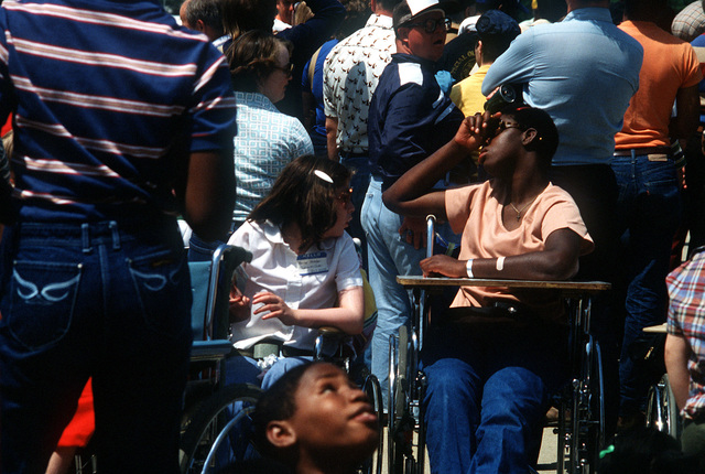Handicapped children visit the Open Housed Air Show
