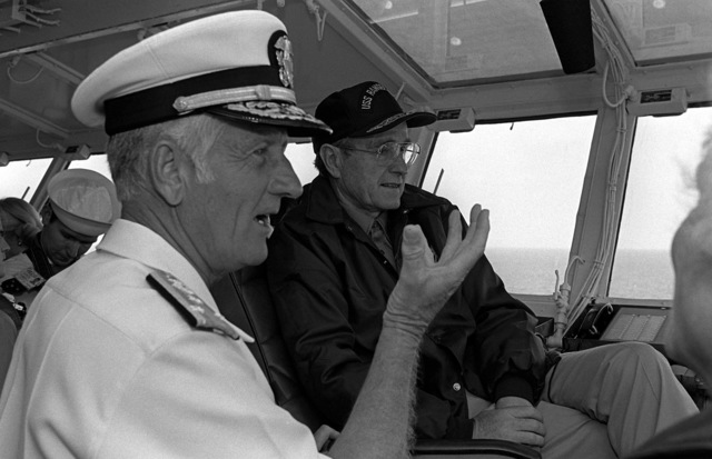 vice president george bush and vadm crawford easterling visit the bridge of the aircraft carrier