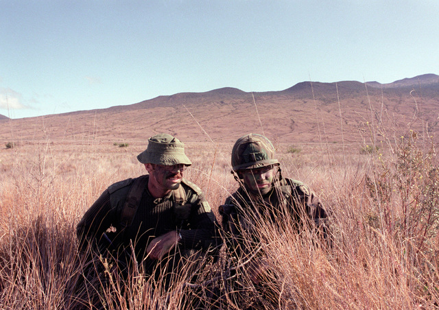 CAPT. Anthony J. Watts, a member of Co. C, 8/9 Royal Australian Regiment, and 2nd LT. Brock E. Ayers, right liaison officer from the 1ST Bn., 21st Inf., 25th Inf. Div., observe opposing forces during a joint U.S./Australian training exercise at the U.S. Army`s Pohakuloa Training Area