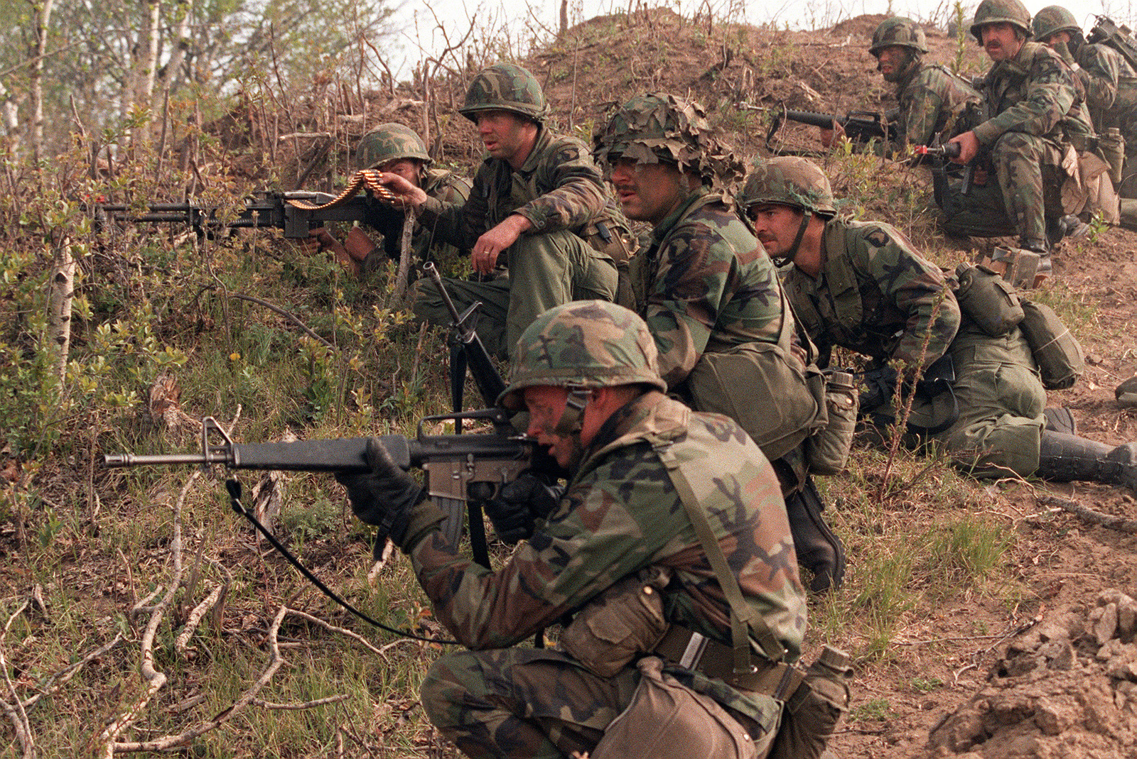 Members of the 3rd Bn , 327th Inf , 101st Airborne Div , defend