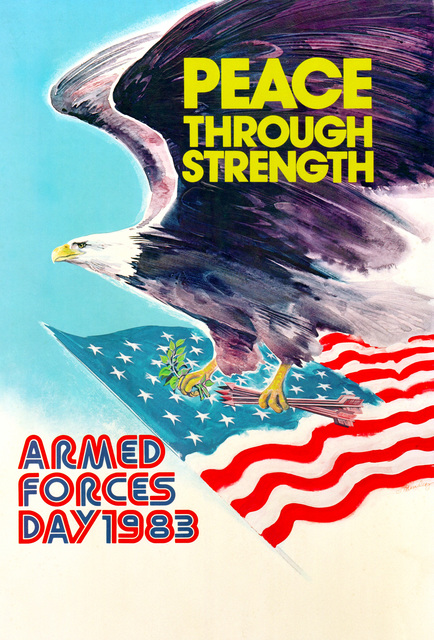 PEACE THROUGH STRENGTH ARMED FORCES DAY 1983. In honor of the 33rd Anniversary when President Harry S. Truman led the effort to establish a single holiday for citizens to come together and thank our military members for their patriotic service in support of our country. On August 31, 1949, Secretary of Defense Louis Johnson announced the creation of an Armed Forces Day to replace separate Army, Navy and Air Force Days. The single-day celebration was a result of the unification of the Armed Forces under one department -- the Department of Defense. Armed Forces Day is celebrated annually on the third Saturday of May