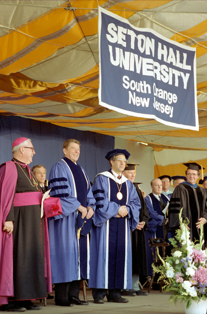 President Reagan in Graduation Gown at Seton Hall University's Commencement Ceremonys in South Orange, New Jersey