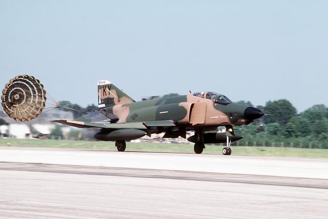 A Kentucky Air National Guard RF-4C Phantom II aircraft deploys a drag chute while landing during Exercise CHECKERED FLAG '83