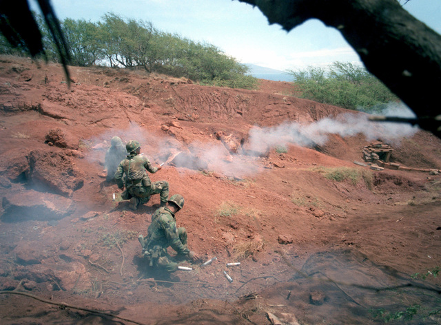 A combined live fire exercise is conducted by the 2nd Brigade, Infantry Division, during annual training