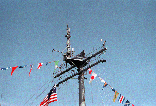 A view of the SPS-10 surface search radar antenna aboard the tank landing ship USS LAMOURE COUNTY (LST-1194)