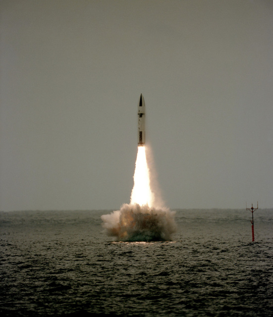 A Polaris missile lifts off after being fired from the submerged British nuclear-powered ballistic missile submarine HMS REVENGE (S-27) off the coast of Florida near Cape Canaveral Air Force Station. This the 10th in a series of Polaris test flights