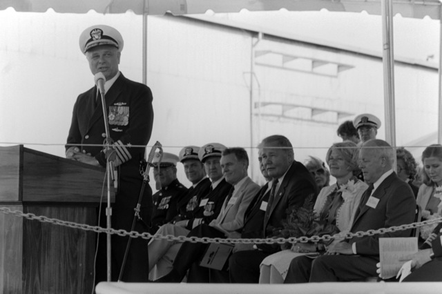 Admiral John G. Williams Jr., chief of Naval Material, speaks to guest and spectators attending the launching ceremony for the dock landing ship WHIDBEY ISLAND (LSD 41) at the Lockheed Shipyard