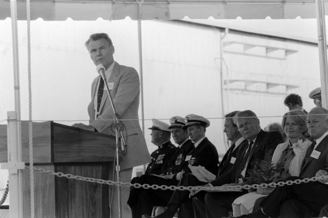 Assistant Secretary of the Navy George A. Swayer speaks on behalf of the Secretary of the Navy during the launching ceremony for the dock landing ship WHIDBEY ISLAND (LSD 41) at the Lockheed Shipyard