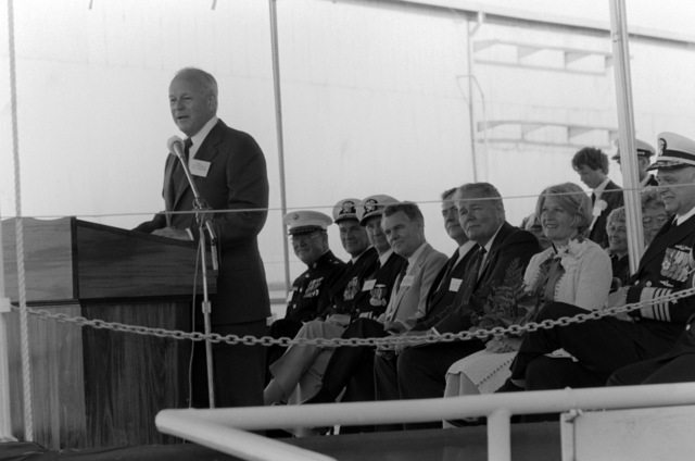 James F. Goodrich, undersecretary of the Navy, addresses guest and spectators attending the launching ceremony for the dock landing ship WHIDBEY ISLAND (LSD 41) at the Lockheed Shipyard