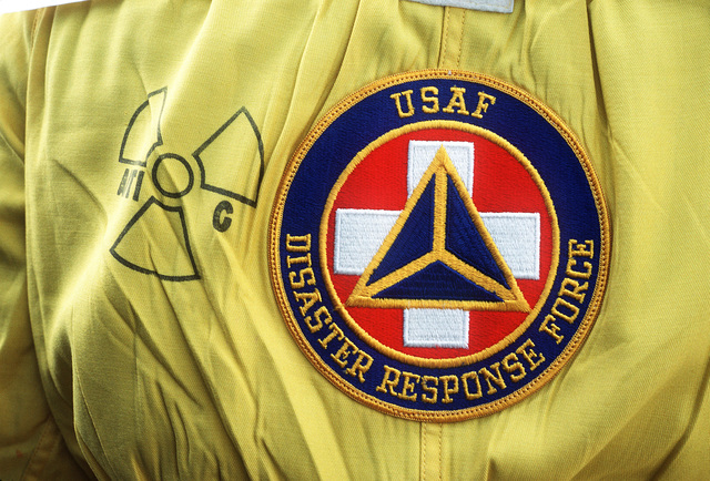 A Disaster Response Force patch on a nuclear-biological-chemical (NBC) protective suit