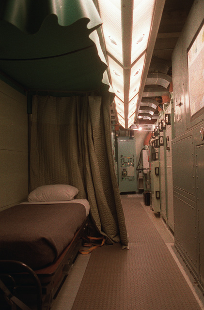 An interior view of a Minuteman II intercontinental ballistic missile silo showing the living quarters and control panels. This silo is manned by personnel of the 321st Strategic Missile Wing