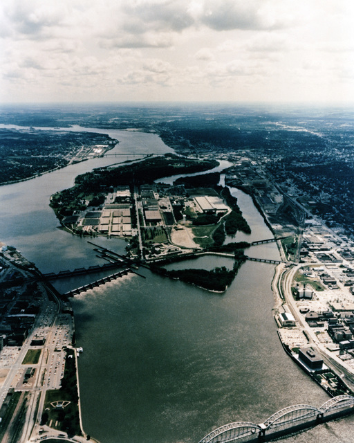 An aerial view of the Rock Island Arsenal