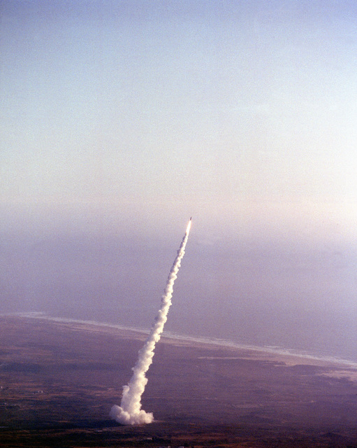 An air-to-air view of an MGM-118A Peacekeeper international ballistic missile moments after launching. This is the first test launch of the Peacekeeper