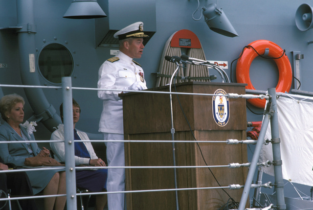 Commodore (CDMR) Theodore E. Lewin, commander, Naval Base, Seattle, speaks during the commissioning ceremony for the Oliver Hazard Perry class guided missile frigate USS CROMMELIN (FFG 37)