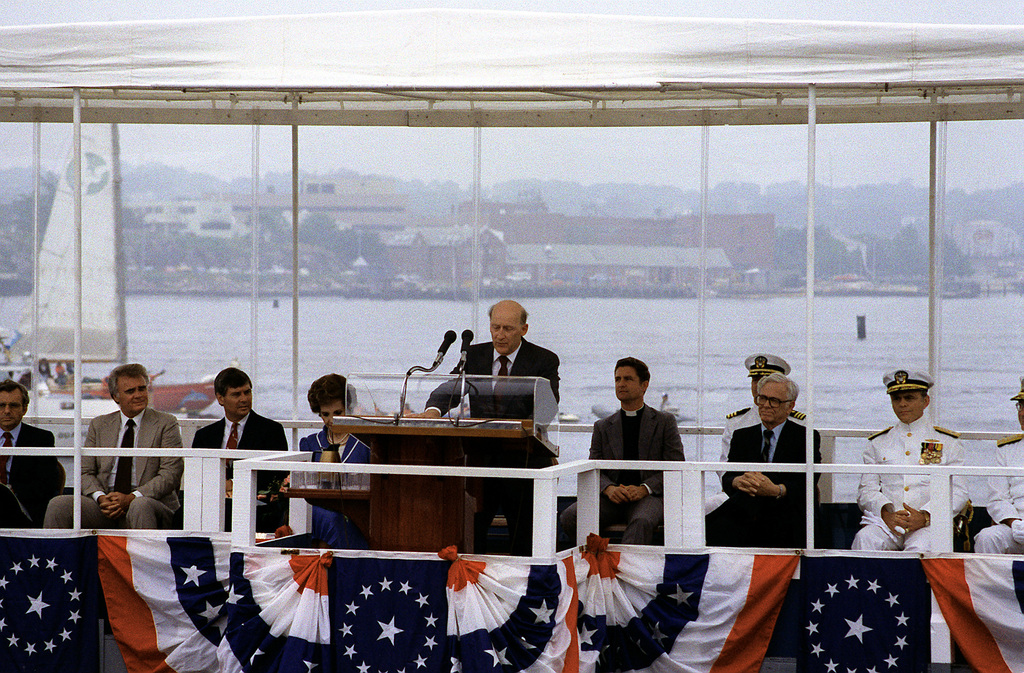 Fritz G. Tovar, general manager of the Electric Boat Division of General Dynamics Corp., addresses guests and spectators attending the commissioning ceremony for the nuclear-powered strategic missile submarine USS FLORIDA (SSBN-728)