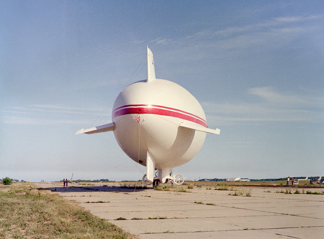 A rear view of Skytrain 500, a 164-foot British-built airship undergoing tests at the center. The Naval Air Development Center is sponsoring the test project to determine if airships offer a practical military value to the Navy. NATC is evaluating the airship's flying qualities, performance, and vulnerability to radar