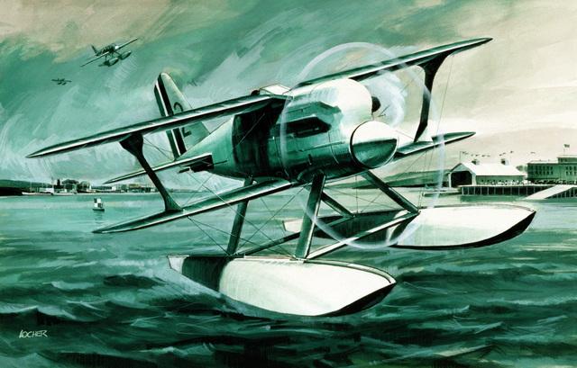 """Artwork: """"Biplane Float Racer"""" Artist: Richard Locher"""