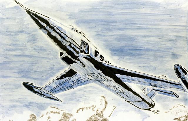 """Artwork: """"Lockheed XF-90"""" Artist: Leon Tallon"""