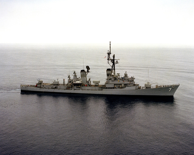 An aerial starboard view of the guided missile destroyer USS HENRY B. WILSON (DDG 7)