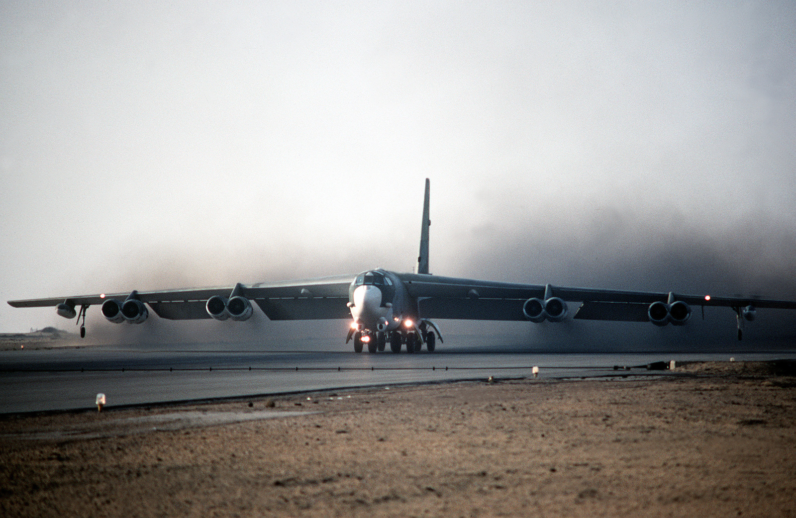 A U.S. Air Force B-52 Stratofortress bomber accelerates for takeoff from Cairo West airport during BRIGHT STAR '83, the joint U.S. and Egyptian military training exercise. Exact Date Shot Unknown