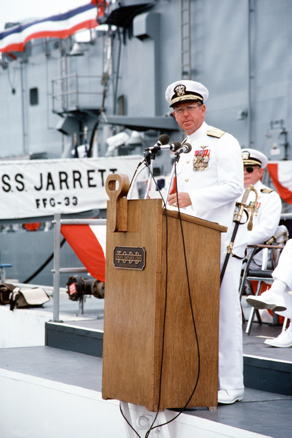 Commodore E. Inman Carmichael, Commander, Naval Base, San Diego, California, speaks during the commissioning ceremony for the guided missile frigate USS JARRETT (FFG 33)