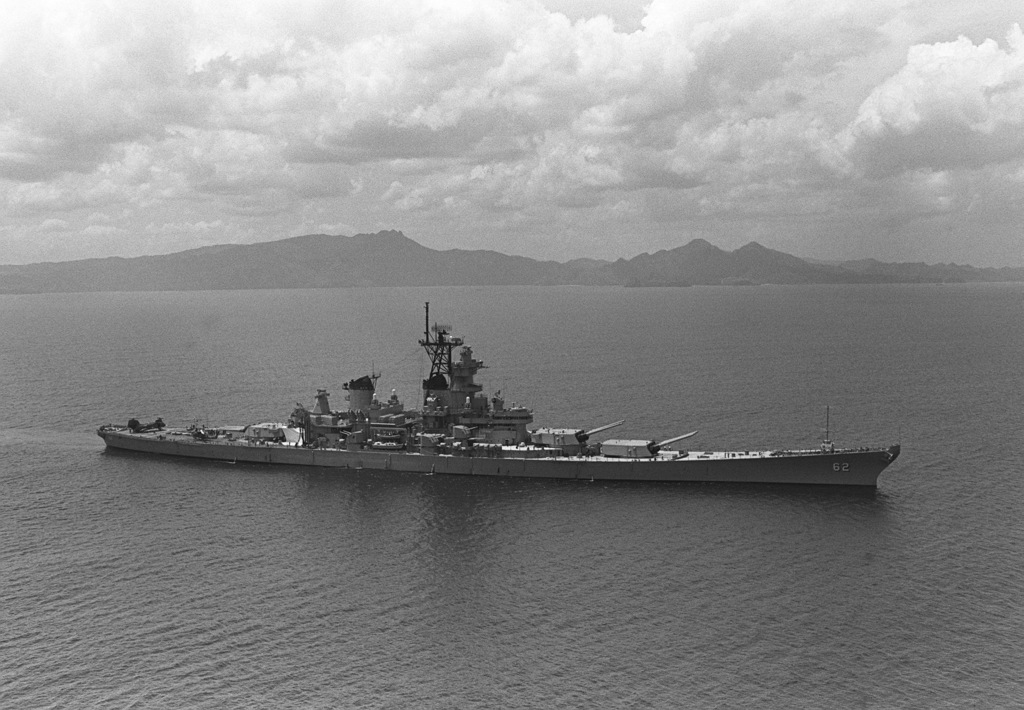 Aerial starboard view of the battleship USS NEW JERSEY (BB-62) underway prior to entering Manila Bay, Republic of the Philippines