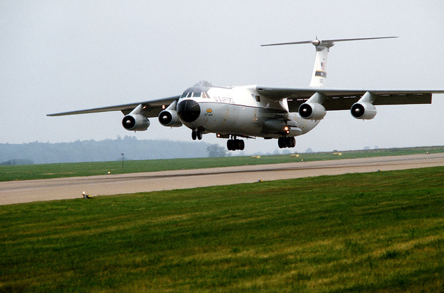 A left front view of a Military Airlift Command (MAC) C-141B Starlifter aircraft as it lands with members of the 112th Tactical Fighter Group, Air National Guard, Pittsburgh, PA., and the 150th Tactical Fighter Group, New Mexico Air National Guard, to participate in Exercise Checkered Flag
