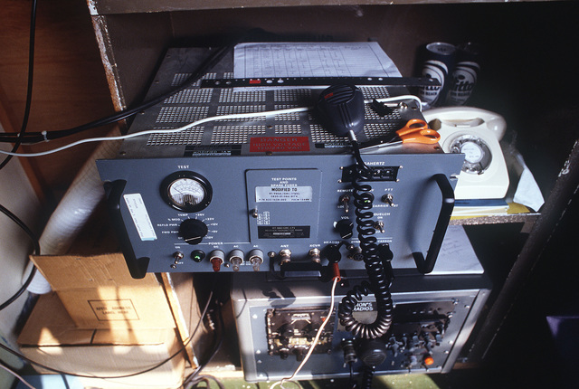 An RT-980/GRC-171 receiver-transmitter radio in use during Exercise CHECKERED FLAG