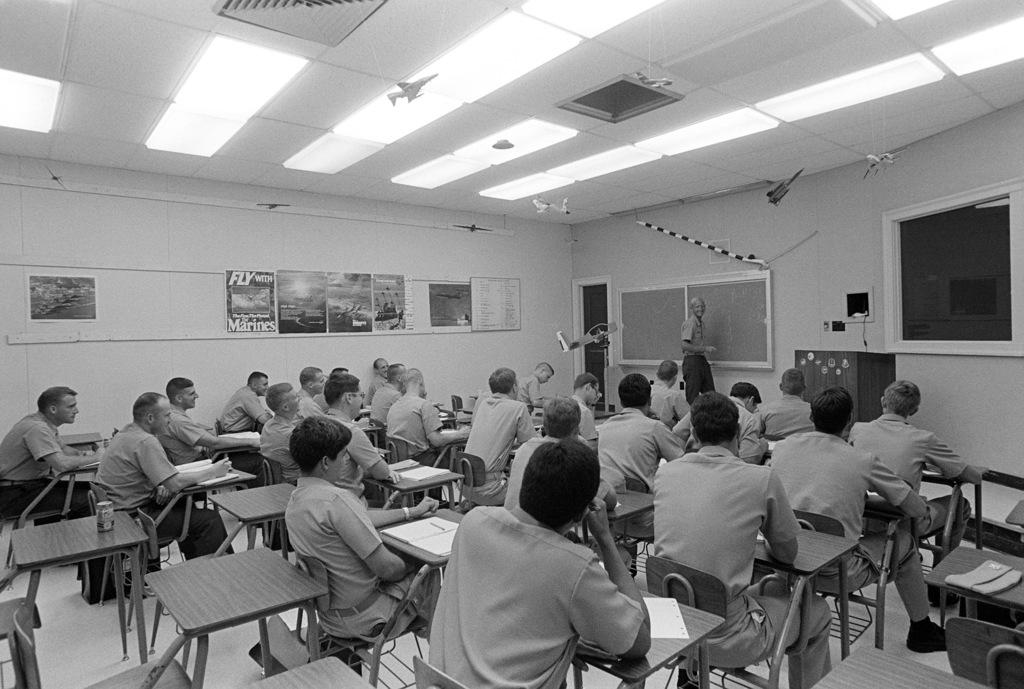 Aviation prelight indoctrination students study aerodynamics prior to primary flight training