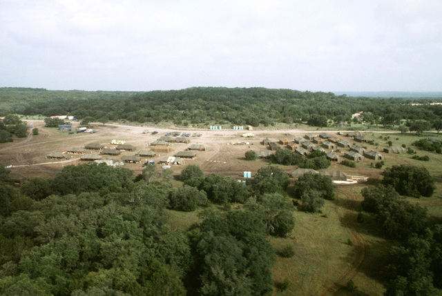 An aerial view of the tent camp erected for exercise RIPE WARRIOR