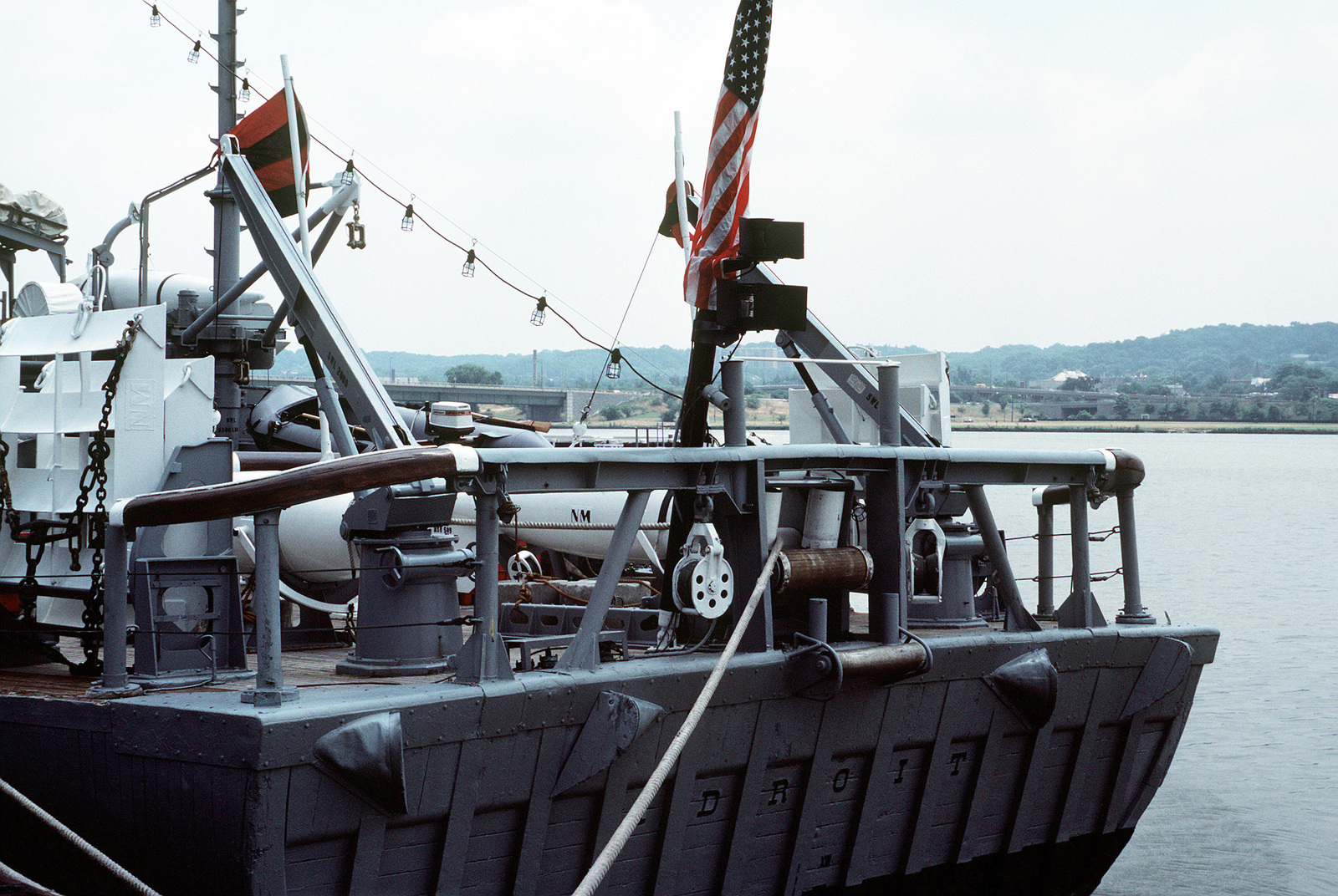 A view of the derrick arms used to support the minesweeping